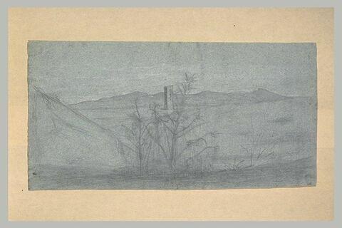 Paysage de la campagne romaine avec une tour carrée