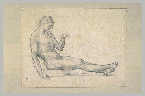 Académie d'homme assis, les jambes étendues, une main à terre : le Christ