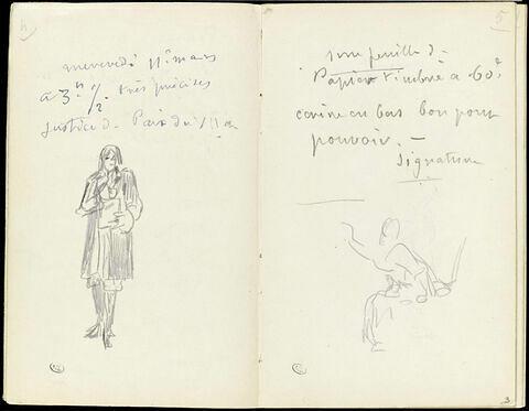 Personnages debout, et notes manuscrites
