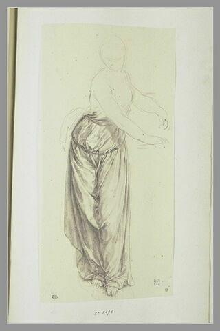Etude de draperie pour une femme debout, les deux mains tendues