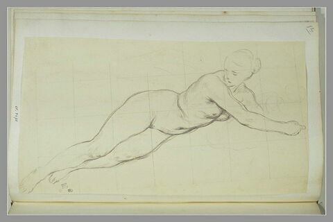 Etude de femme nue étendue sur le côté gauche