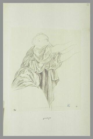 Haut du corps d'une femme drapée, tendant les deux bras