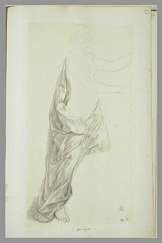 Etude de la draperie d'une femme debout, tournée vers la droite