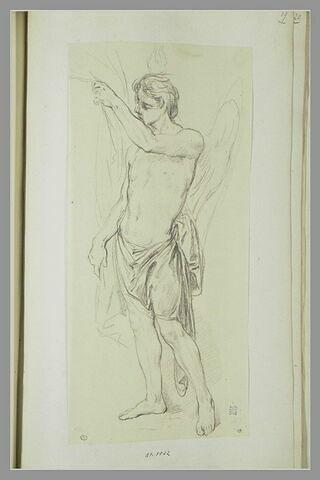 Figure d'ange nu debout, les hanches drapées