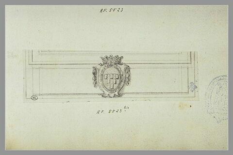 Base architecturale armoriée pour le portrait de Montchenu