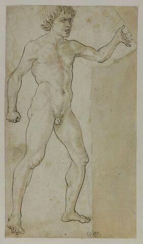 Homme nu criant, debout, le bras gauche tendu, vu de trois-quarts vers la droite