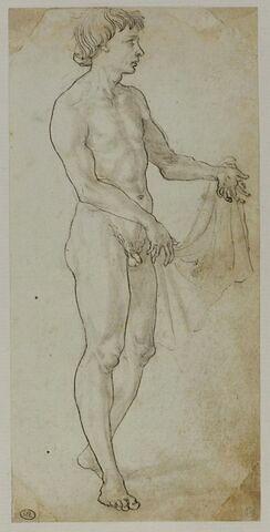 Jeune homme nu, debout, tourné vers la droite et tenant un linge