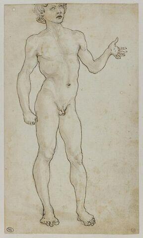 Jeune homme nu debout, de trois-quarts vers la droite,  le bras gauche à demi-tendu, la main ouverte