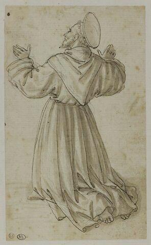 Saint franciscain à genoux, vu de trois-quarts par le dos, tourné vers la gauche, en profil  fuyant, les bras levées : Saint François recevant les stigmates ?