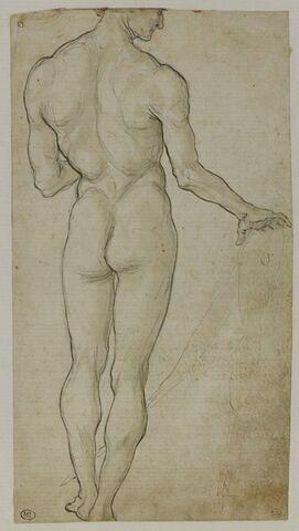 Homme nu debout, vu de dos, tourné vers la droite, en profil  fuyant, la main droite posée sur un objet (un grand compas ?)