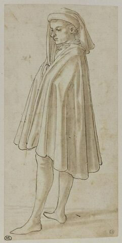 Jeune debout, tourné vers la gauche, enveloppé dans un manteau et coiffé d'un mazzocchio