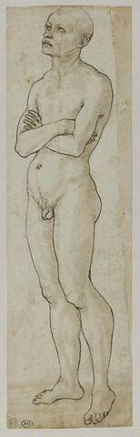 Homme nu debout, de trois quarts vers la gauche, les bras croisés, regardant vers le haut