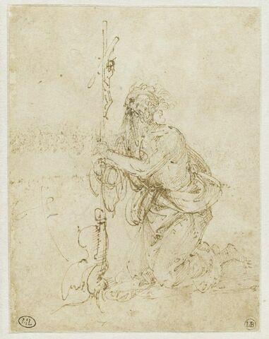 Saint Jérôme agenouillé devant la croix, vu de trois quart gauche