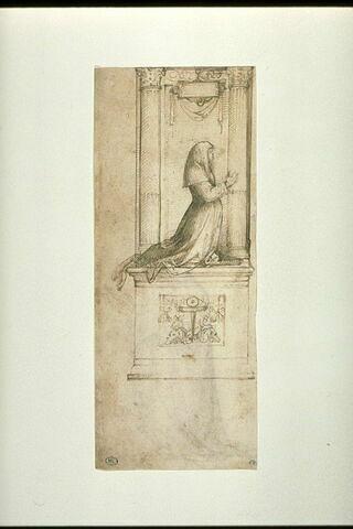 Femme agenouillée entre deux colonnes : étude pour un autel