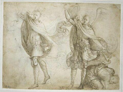 Deux études pour saint Michel archange et un homme accroupi à terre