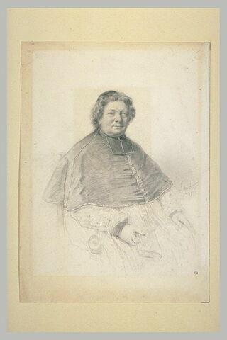 Portrait d'un évêque, assis, tenant un livre de la main droite