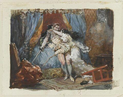 Une femme se précipite sur un gentilhomme qui a tiré l'épée