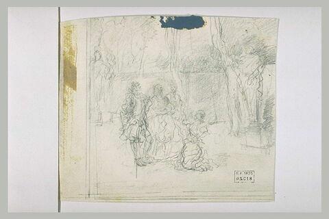 Trois femmes et un seigneur dans un parc