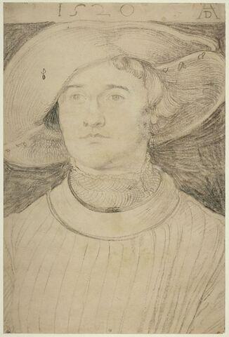 Portrait d'homme de face, en buste, coiffé d'un large chapeau