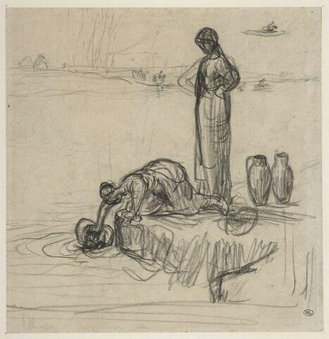 Etude de deus femmes remplissant des jarres d'eau