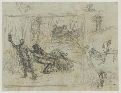 Homme assis près d'un fardeau entrainé par la mort et divers croquis