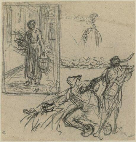 Croquis pour 'La mort et le bûcheron' ; une paysanne portant seau et fagot