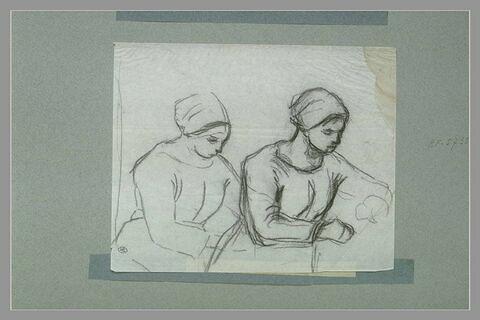 Deux études pour 'La cardeuse' de 1863