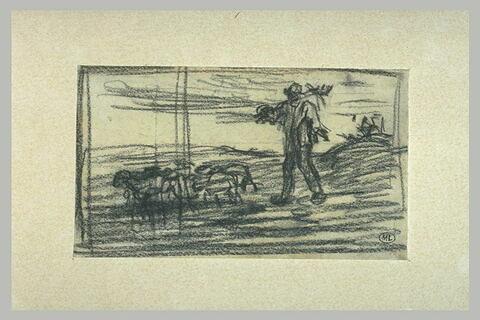Paysan, ses outils sur l'épaule et précédé de son petit troupeau