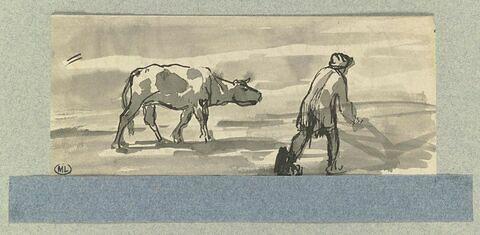 Boeuf et laboureur dans un champ