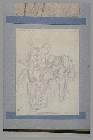 Deux hommes nus portant un cadavre : Christ porté au tombeau