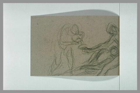 Femme assise avec un enfant, tendant une coupe à un homme