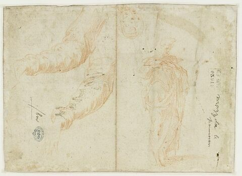 Homme debout, drapé, lisant, tête, et deux études de draperie sur un bras