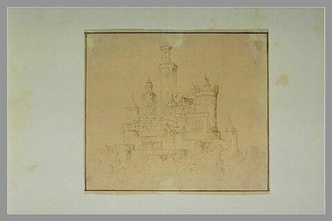 Vue d'un château fort à plusieurs niveaux