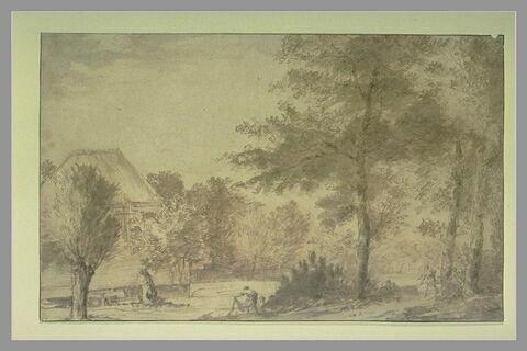 Paysage avec une maison au bord d'une rivière, un pêcheur et deux personnes