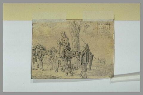 Un paysan conduisant sa femme montée sur une mule, avec un enfant