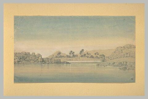 Vue du Nil à la 1ère cataracte, avec un village nubien