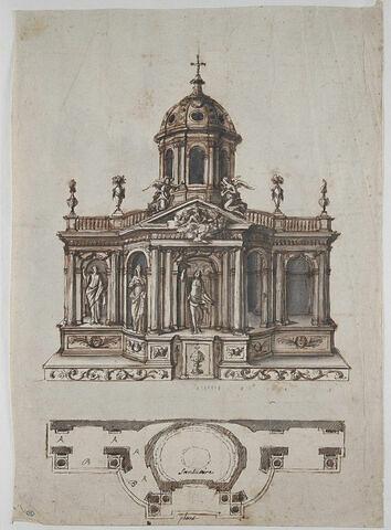 Tabernacle architecturé et sculpté : la Trinité