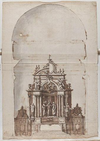 Autel et retable d'ordre corinthien, avec le Mariage de la Vierge