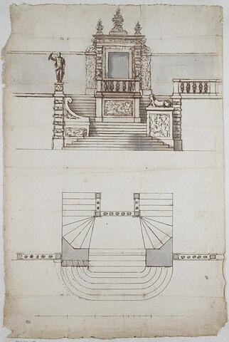 Projet d'escalier extérieur, élévation et plan
