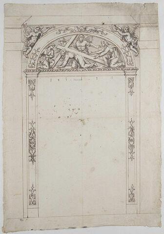 Encadrement sculpté avec relief : le Christ et Sainte Véronique