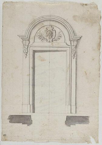 Porte avec emblème maçonnique, élévation et plan