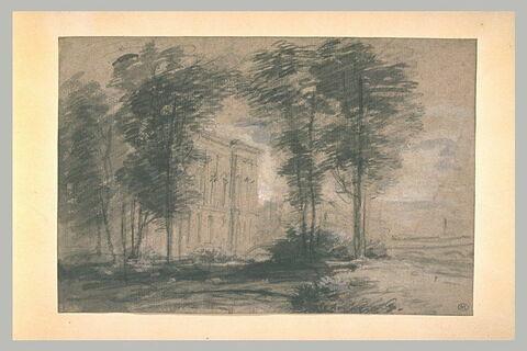 Vue du Louvre, au travers d'arbres