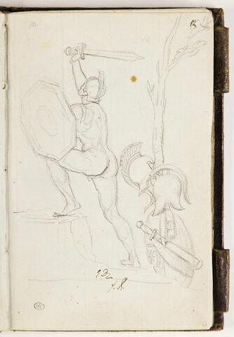Guerrier s'élançant vers la gauche ; casques, épée et bouclier, arbre
