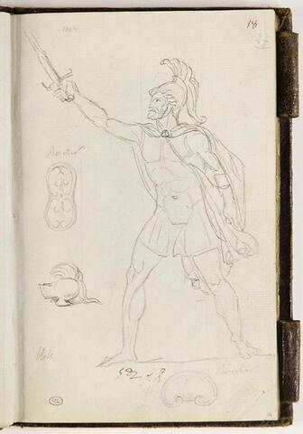 Guerrier barbu, armé ; croquis de boucliers et de casque
