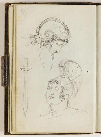 Tête d'homme barbu, casqué ; tête de jeune homme, casqué, glaive