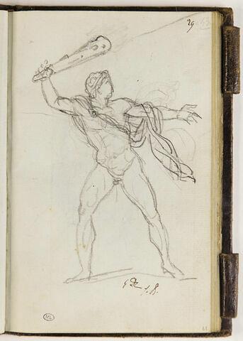 Homme nu, brandissant une massue