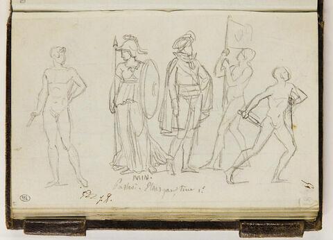 Etudes de figures et annotations manuscrites