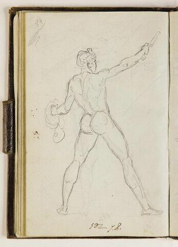 Homme nu, vu de dos, un chapeau dans la main gauche