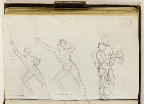 Quatre études de figures d'homme: deux nus, deux habillés