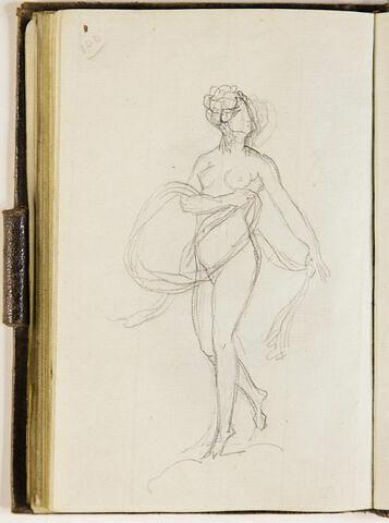 Femme nue, debout, de face, la tête tournée vers la droite